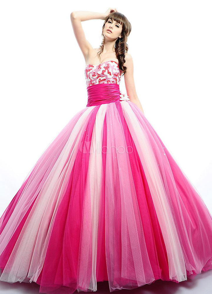 Attractive Ball Gown Pink Tulle Sweetheart Neck Quinceanera Dress ...