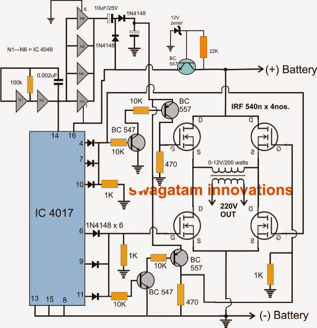 the following post describes an h-bridge modified sine wave inverter circuit  using four n-channel mosfets  let's learn more about the circuit  functioning