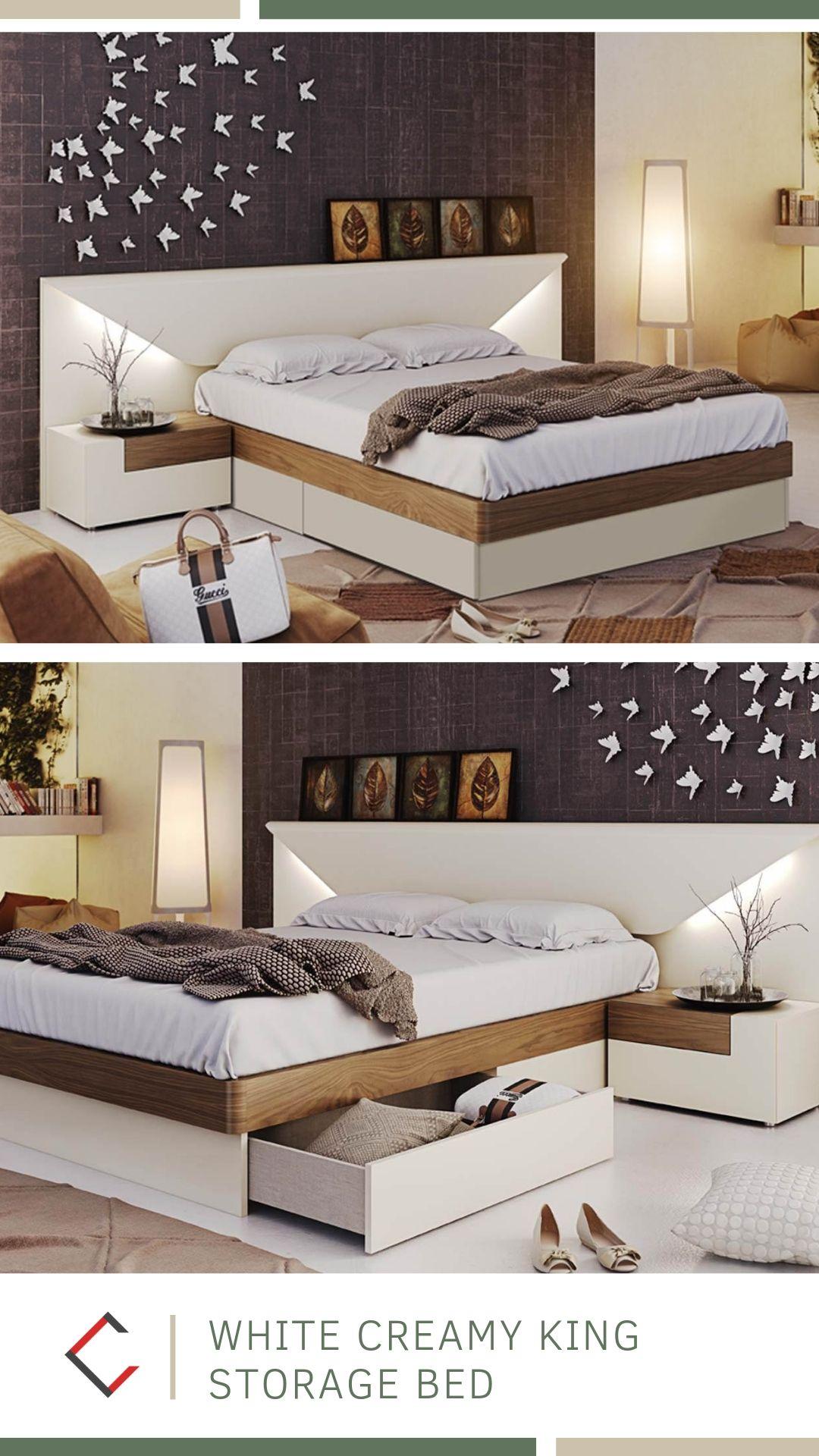 Esf Garcia Sabate Spain Elena Off White Creamy King Storage Bed In
