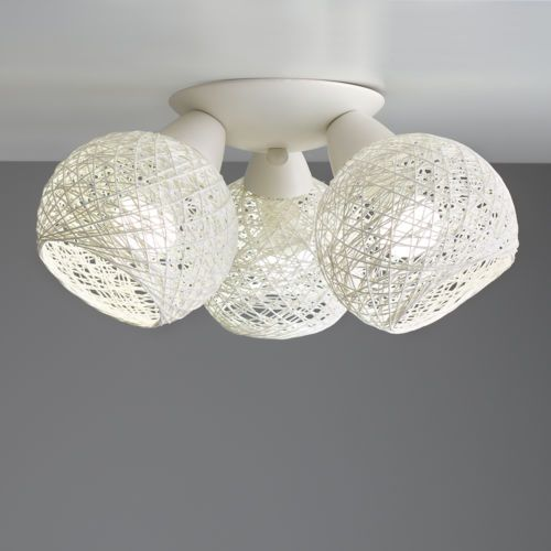 Cream Flush Ceiling Light Fixture with Rattan Wicker Shades Home     Cream Flush Ceiling Light Fixture with Rattan Wicker Shades Home Lighting    eBay