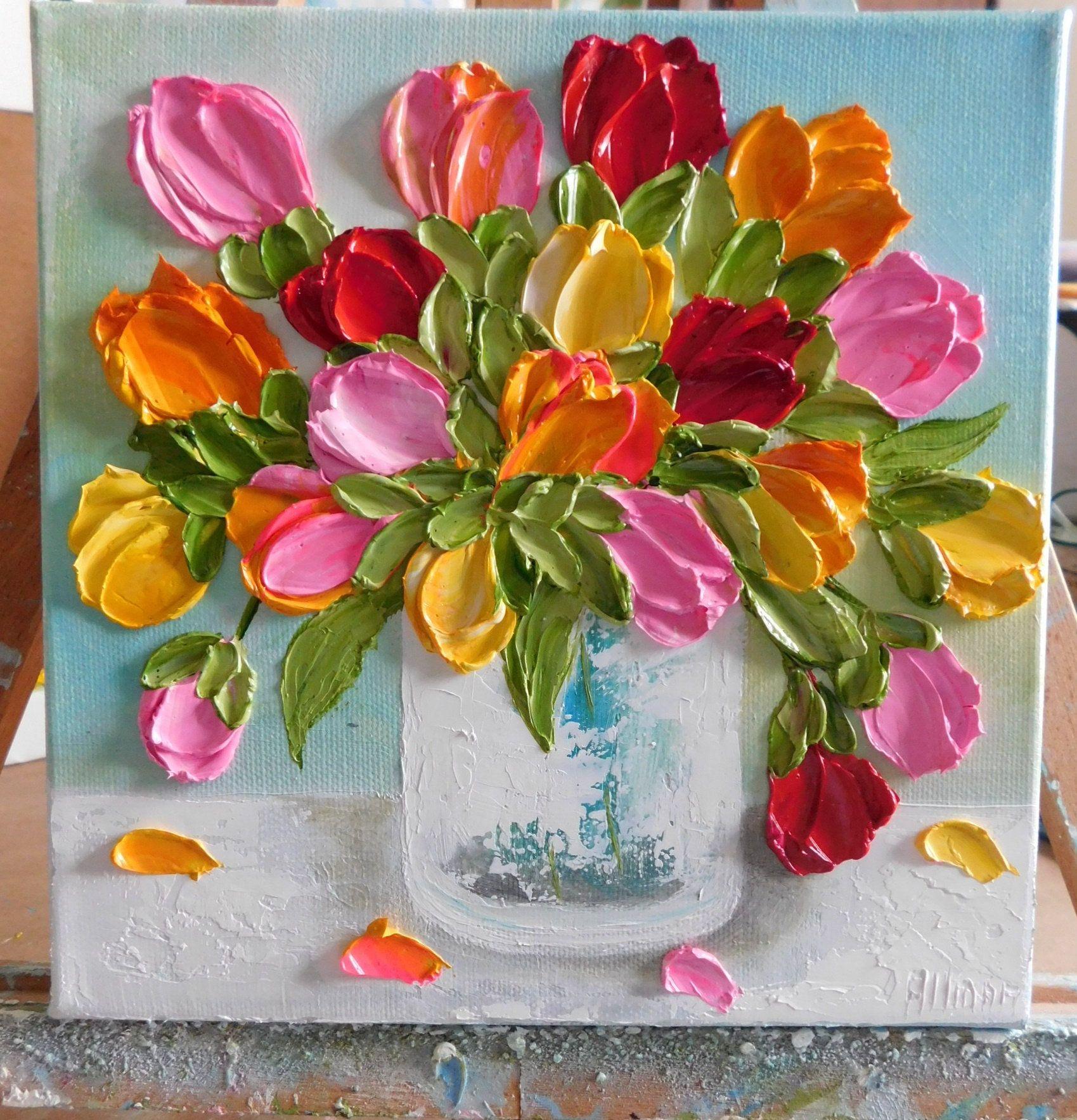 Custom Bright Tulip Oil Painting Impasto Painting