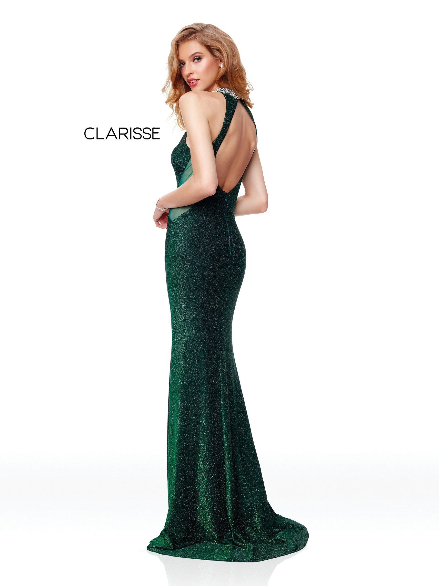 2fdab4409e07 3745 - Emerald green shimmer jersey prom dress with a beaded detail halter  neck and an open back