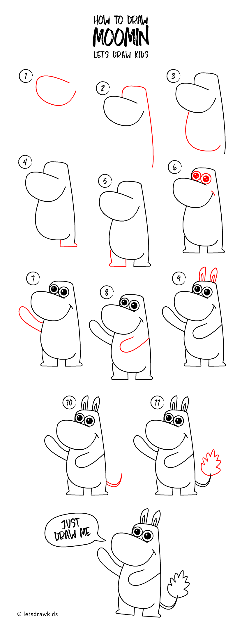 How to draw Moomin. Easy drawing, step by step, perfect ...
