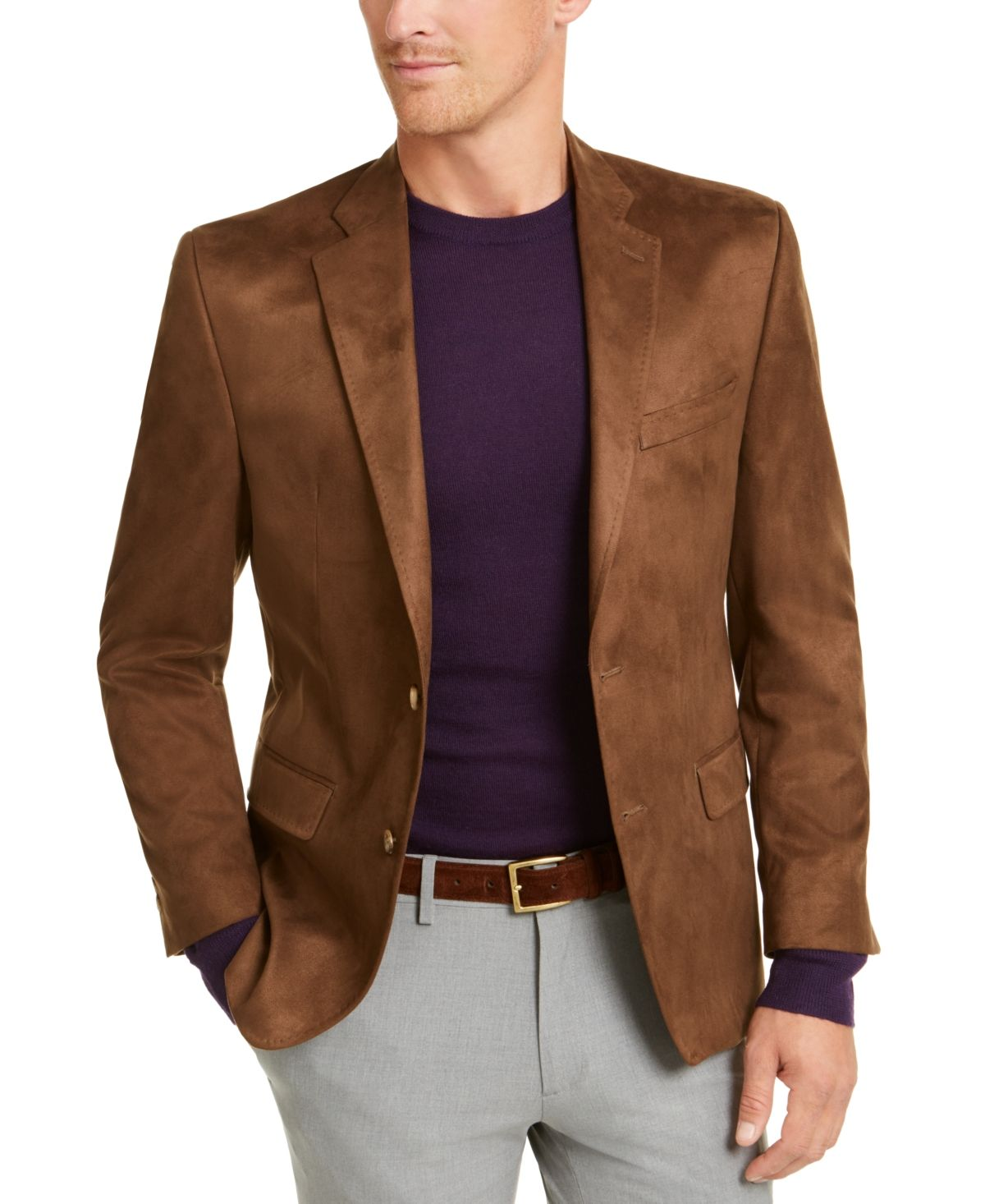 Lauren Ralph Lauren Men S Classic Fit Faux Suede Sport Coat Copper Blazer Outfits Men Streetwear Men Outfits Brown Jacket Men