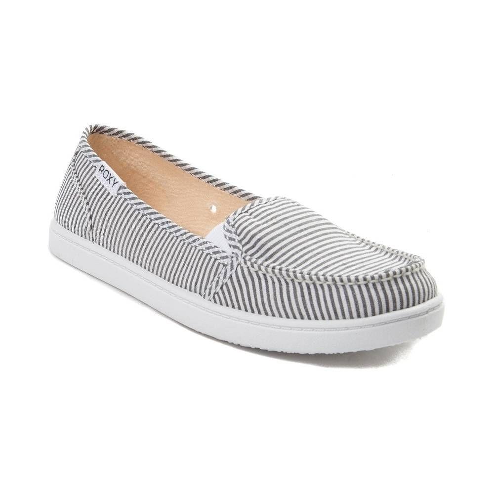 38e4383a2ac Womens Roxy Minnow Slip-On Casual Shoe - Black White - 70040679 ...