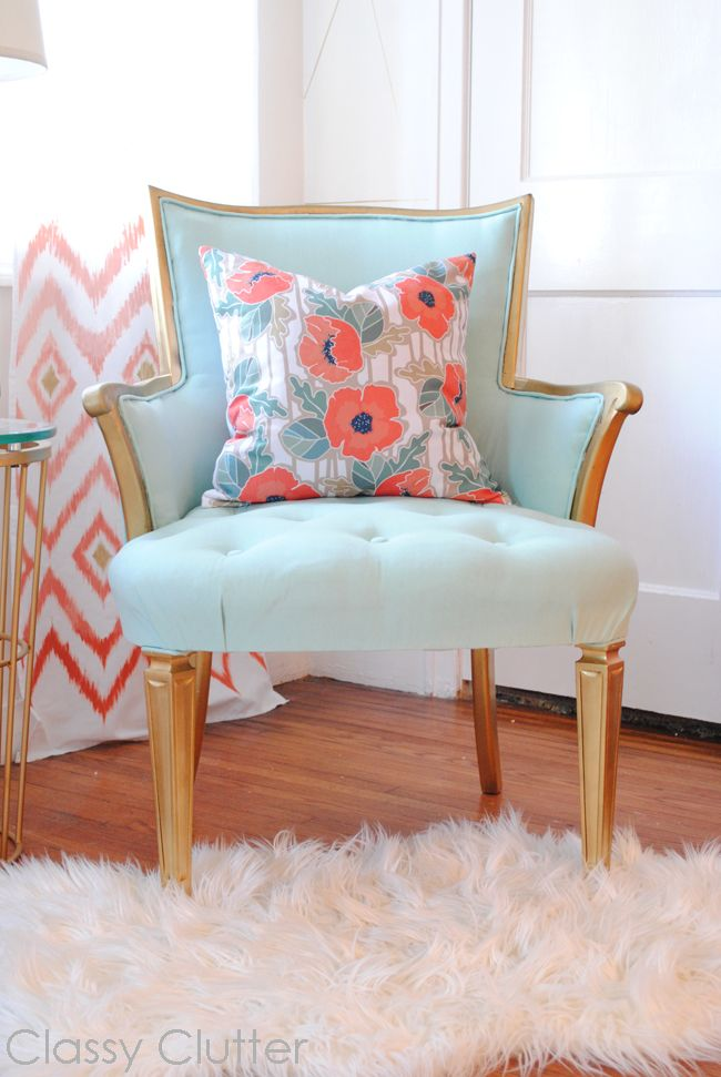 Love this chair! for the office? //favourite corner with upcycled mint chair by classy clutter