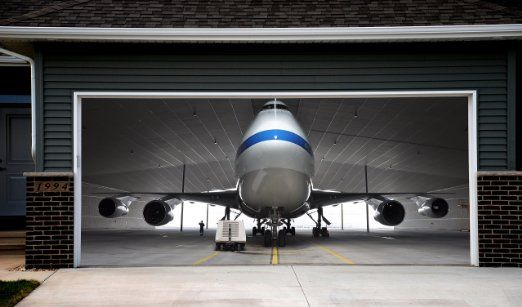 Plane In Hangar Decoration For Garage Door Colored 3d Effect Banner