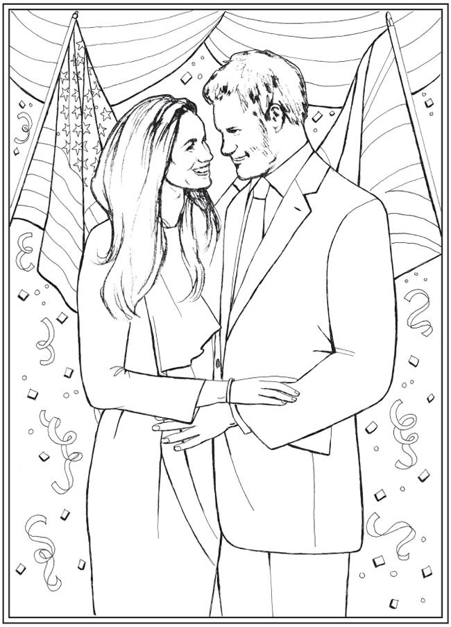 Harry And Meghan A Love Story Coloring Book Dover
