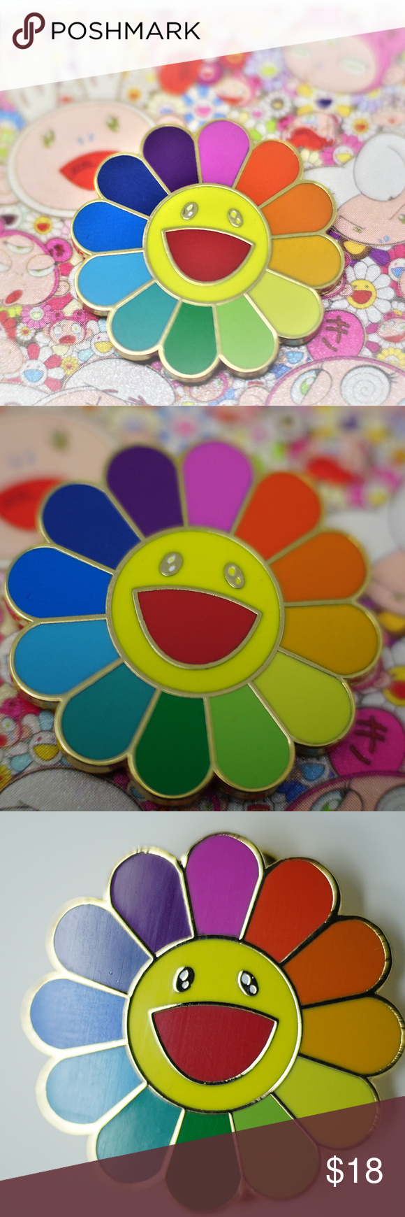 Murakami Flower PIn Brooch in 2020 Murakami flower