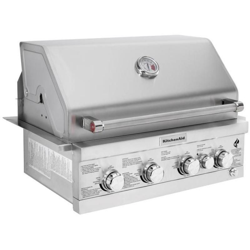 Kitchenaid 30inch builtin natural gas grill with rear