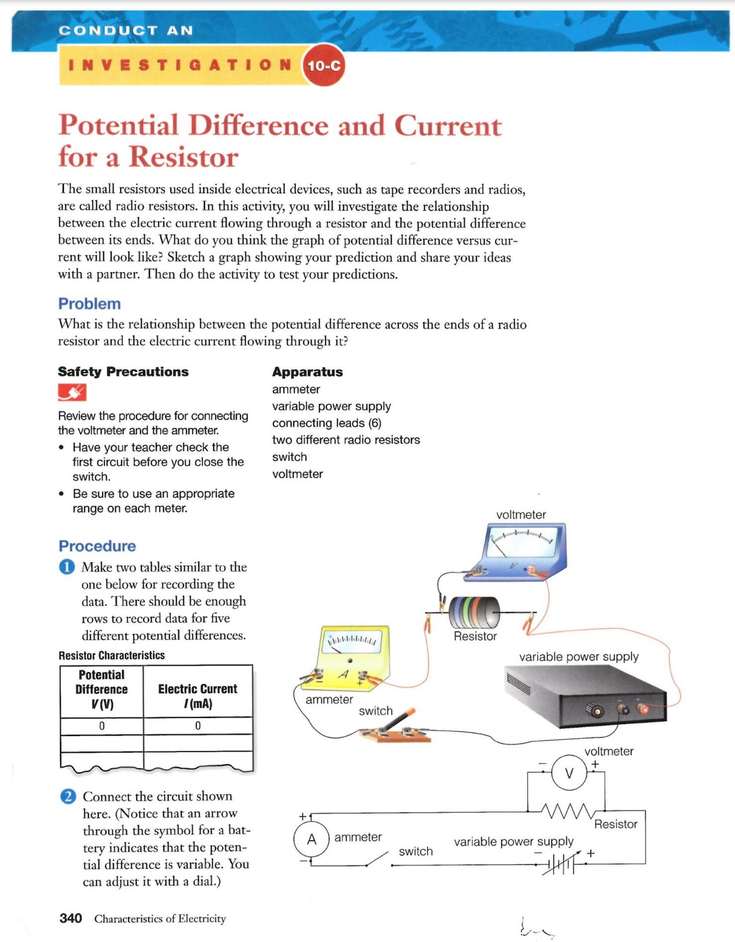 Potential Difference And Current For A Resistor Laboratory