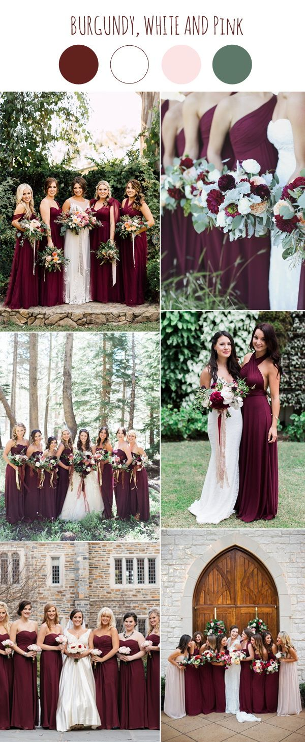 2017 wedding color scheme trends burgundy and white wedding trendy burgundy bridesmaid dresses for wedding 2017 ombrellifo Gallery