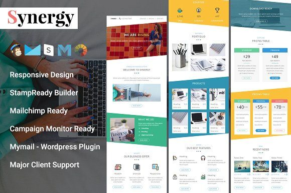 Synergy - Responsive Email Template Template, Responsive and - responsive email template
