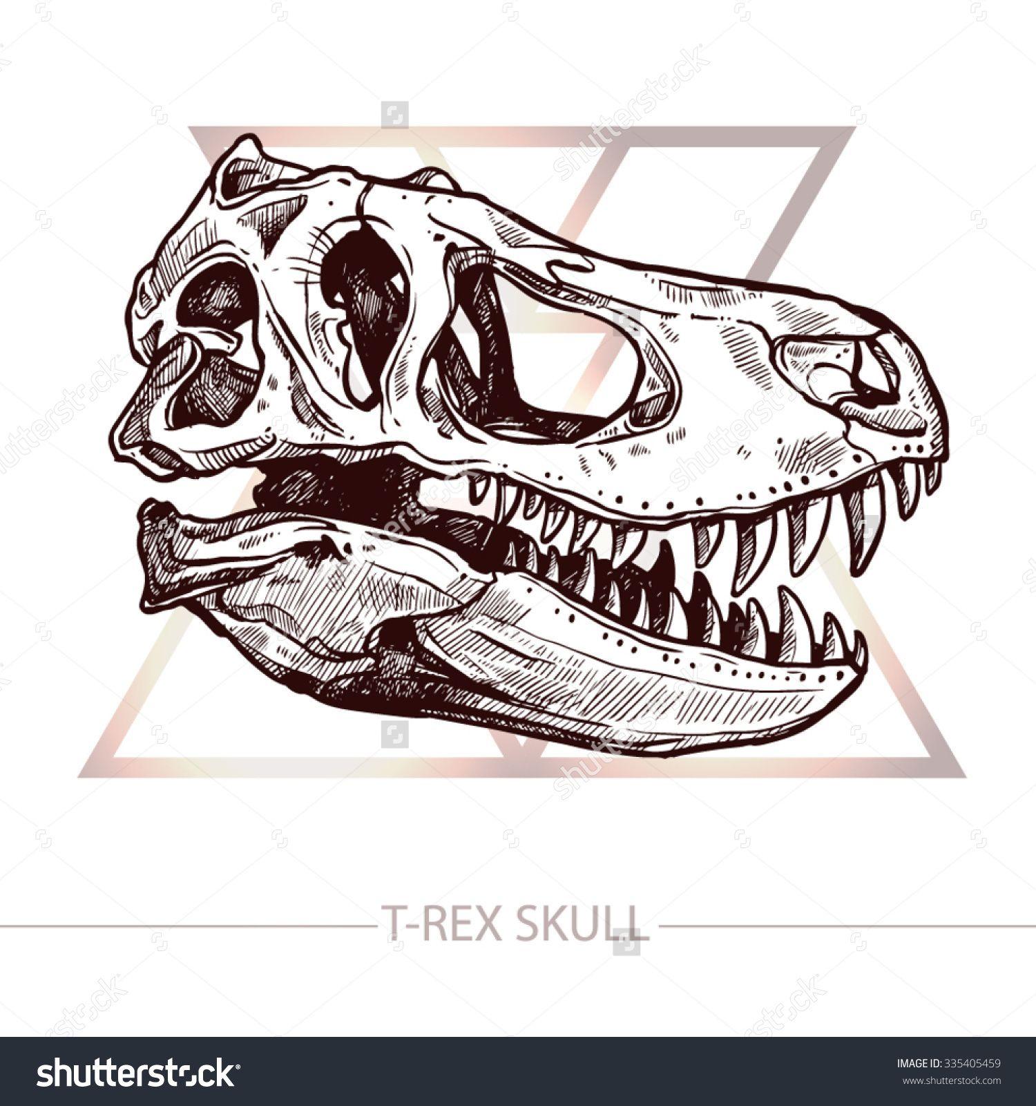 stock-vector-dinosaur-skull-drawing-of-t-rex-skull-335405459.jpg ...