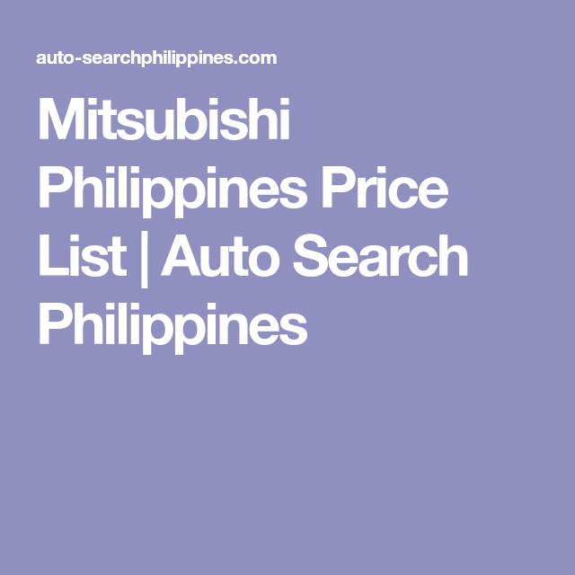 Mitsubishi Philippines Price List Auto Search Philippines Car Search Mitsubishi Philippines