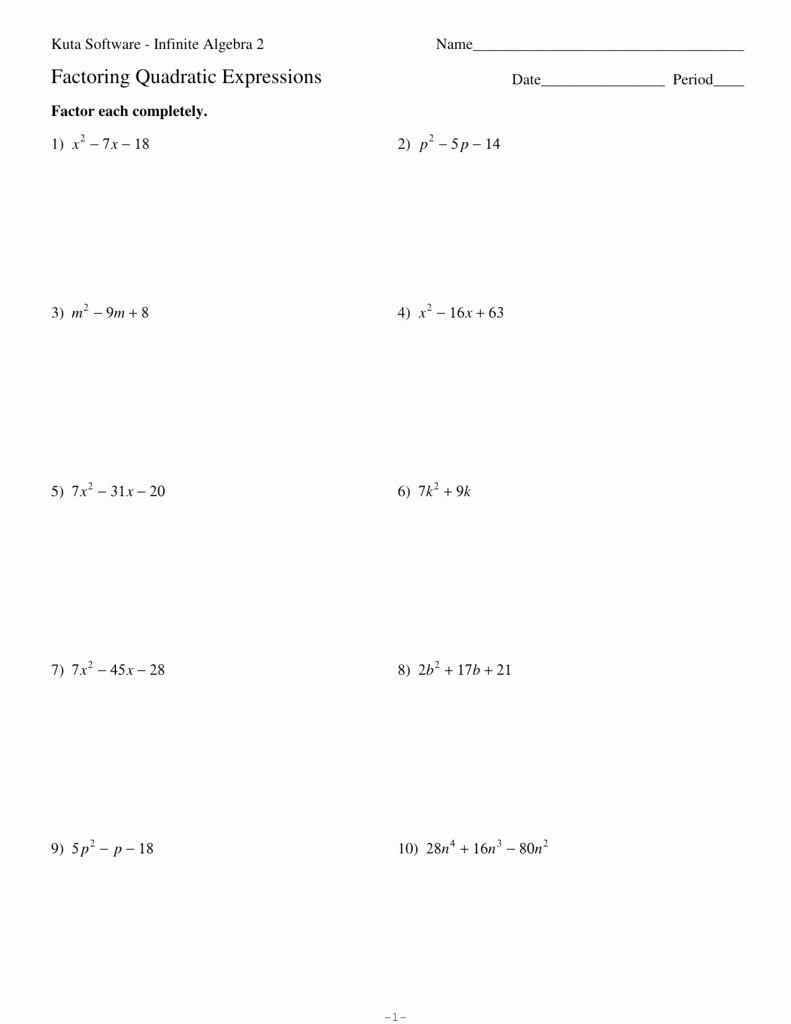 Factoring Worksheet Algebra 1 New Factoring Quadratic Expressions In 2020 Quadratics Factoring Quadratics Solving Quadratic Equations [ 1024 x 791 Pixel ]