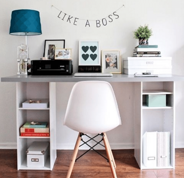 Ikea Hack Desk With Storage Shelves Home Diy Home Decor