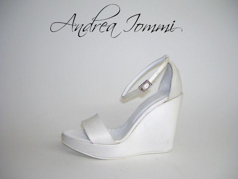 Scarpe Da Sposa Zeppa.Sandalo Da Sposa Con Zeppa In Raso Bianco Platform Wedge Wedding