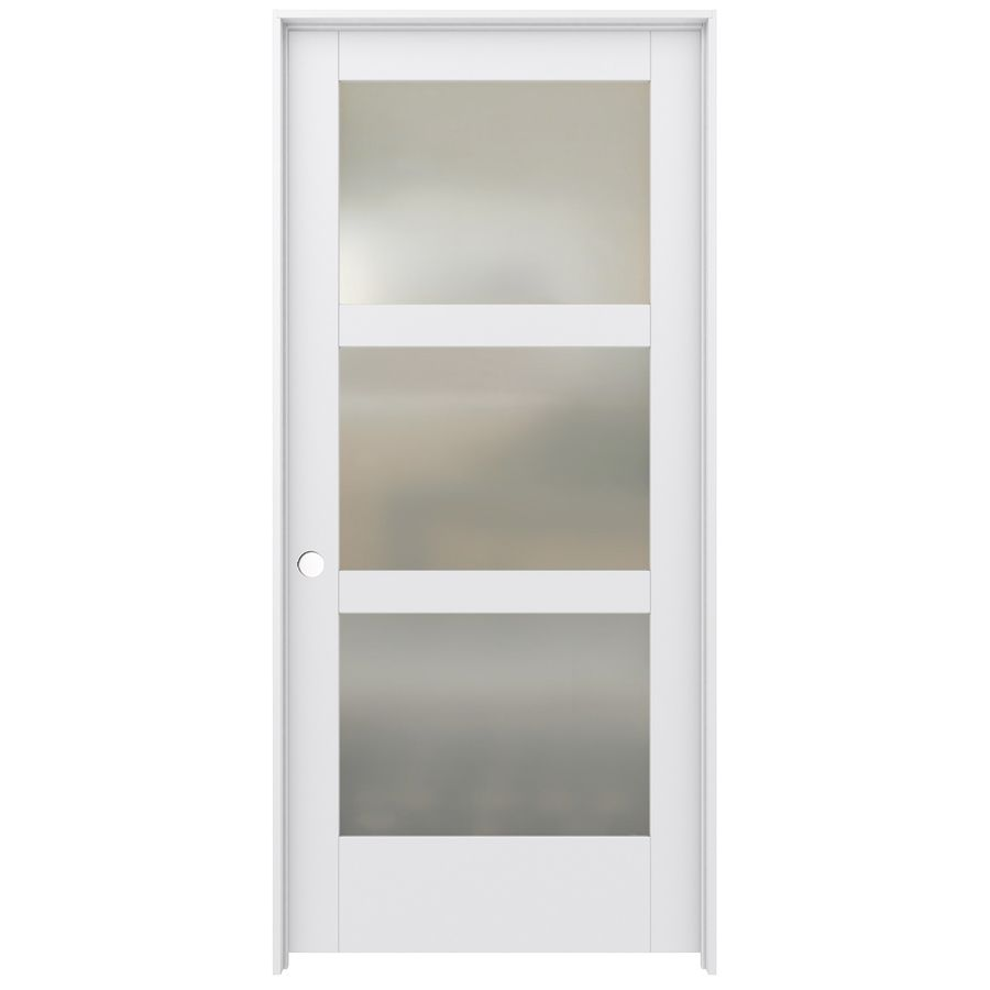 Captivating JELD WEN MODA Prehung Solid Core 3 Lite Frosted Glass Pine Interior Door (