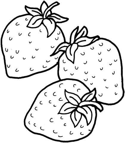 Drei Erdbeeren Ausmalbild | Ausmalbilder | Pinterest