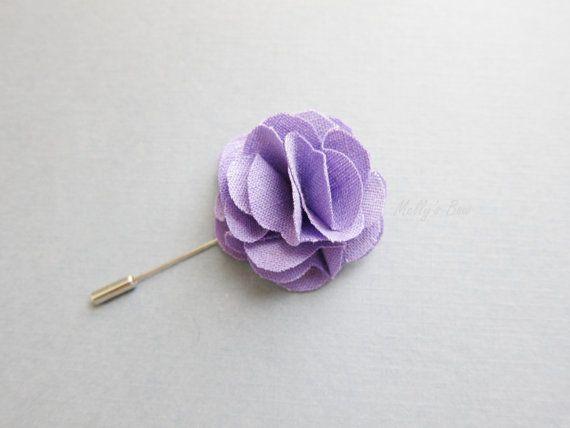 Lilac Linen Boutonniere Men S Lapel Flower Pin Lavender Lapel Flower Flower Lapel Pin Boutonniere