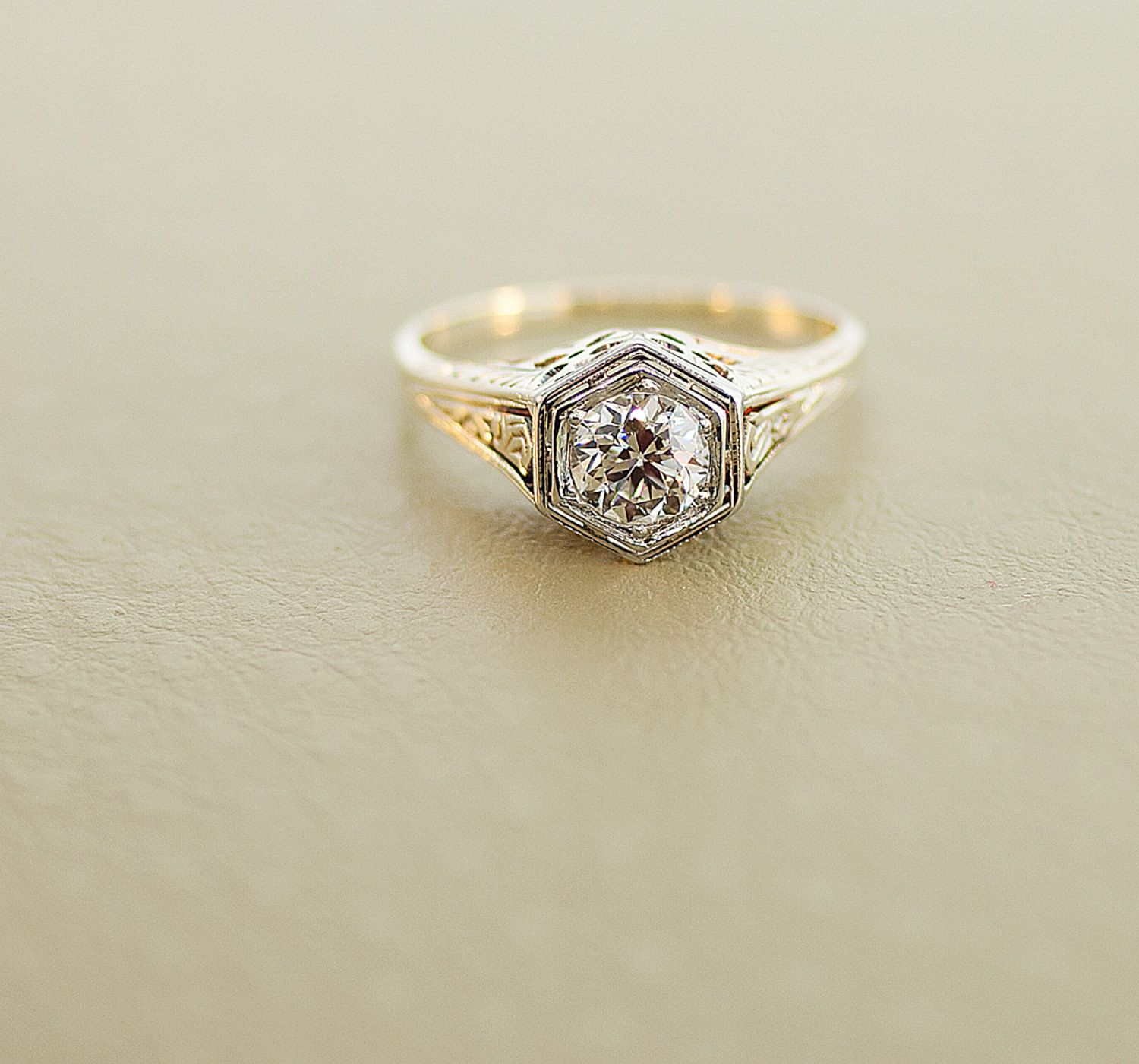 Antique Engagement Ring Antique 1920s 14K Yellow and