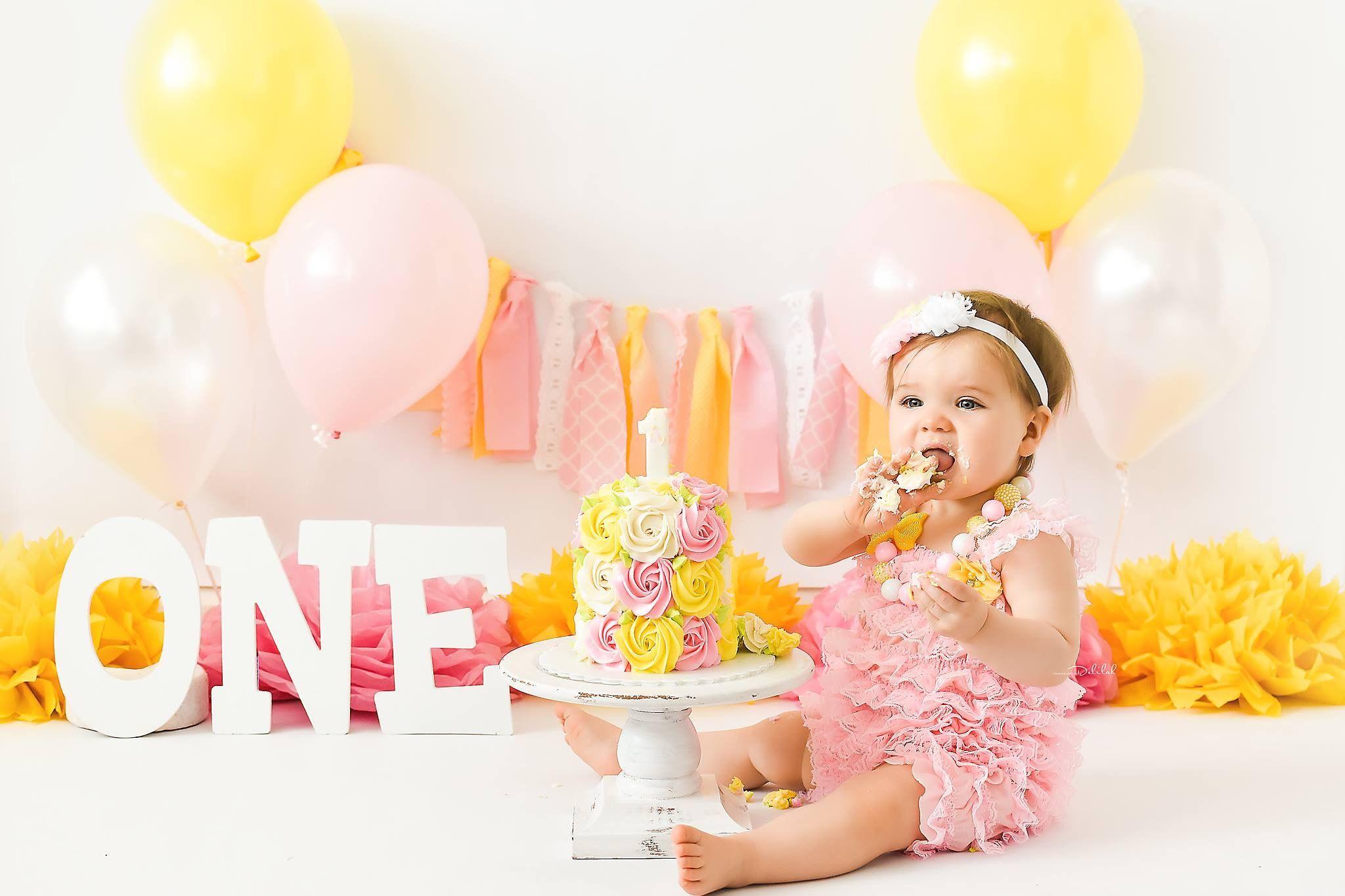 Baby Pink And Yellow Cake Smash Theme With Images Cake Smash