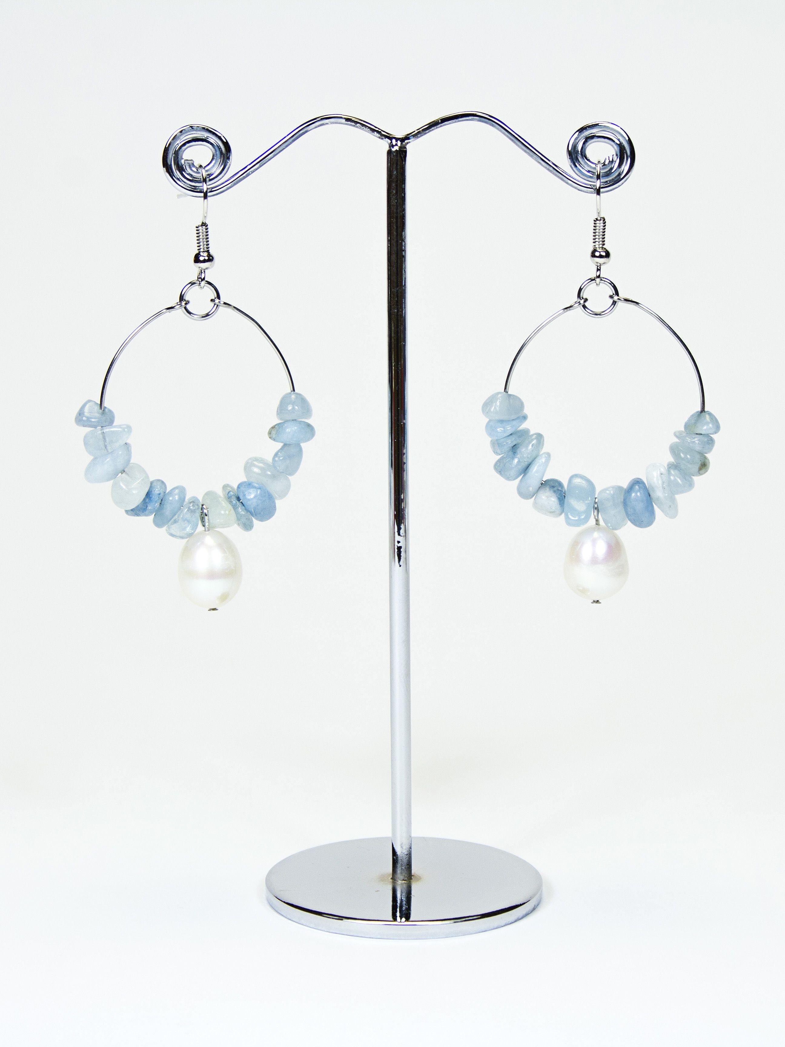 Boucles d'oreilles chips d'Aigue Marine et perles d'eau douce