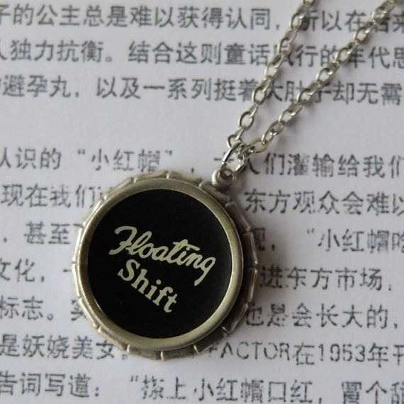 vintage typewriter key necklace - the large key floating shift  - Typewriter Key Jewelry by the Lettershop