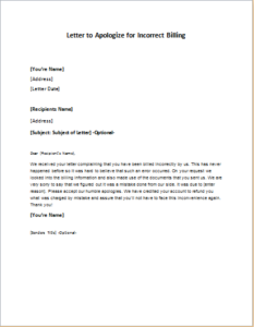 Letter To Apologize For Incorrect Billing Download At Http