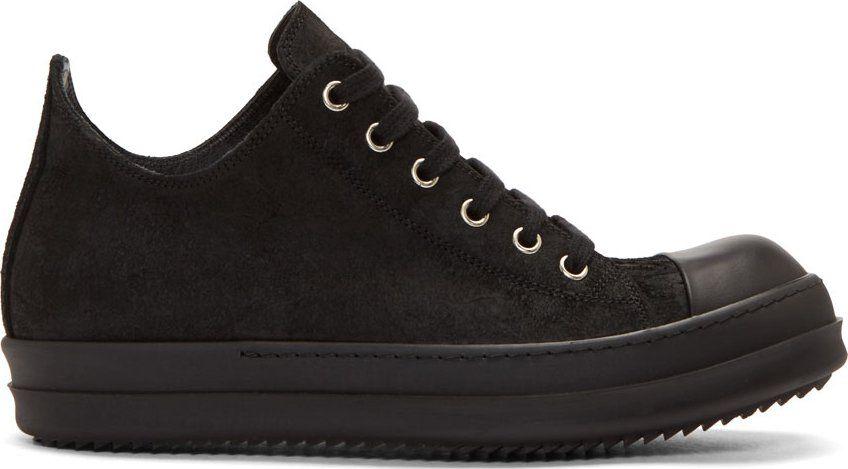 Rick Owens Black Brushed Suede Sneakers