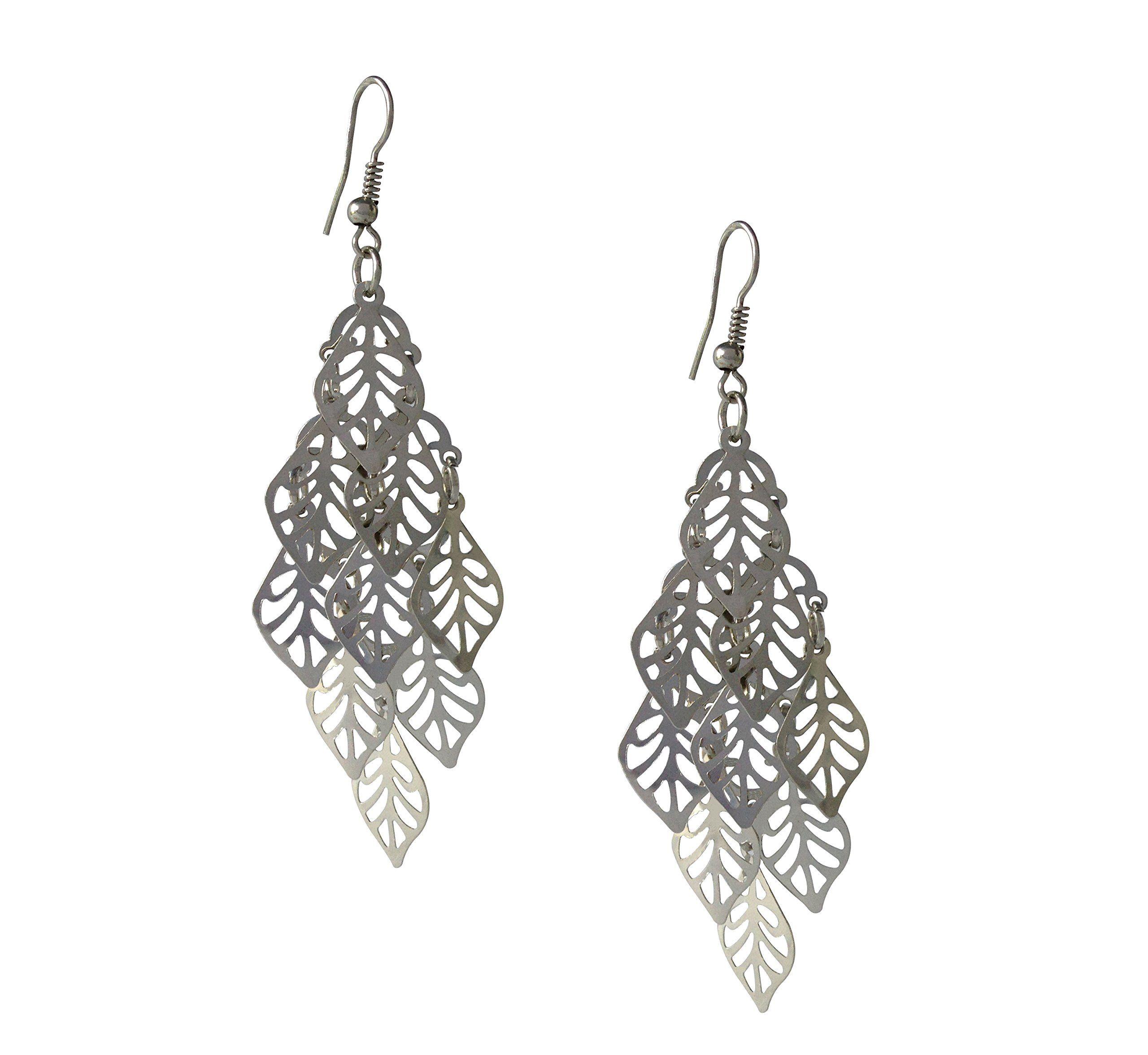 Silver chandelier dangle earrings lightweight and sassy stylish amazon silver chandelier dangle earrings lightweight and sassy jewelry arubaitofo Choice Image