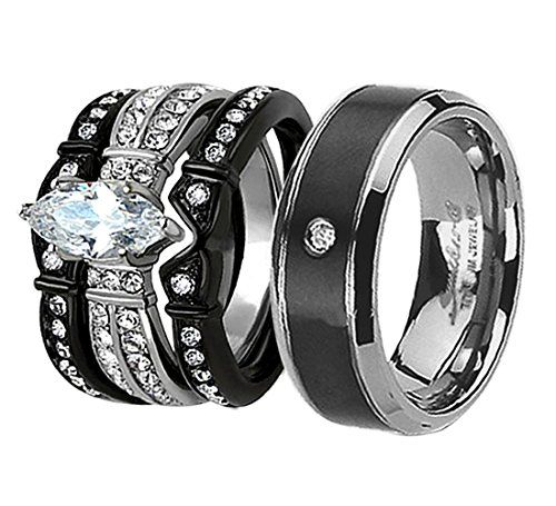 His & Hers 4Pcs Black Titanium CZ Matching Band Women Bride ...