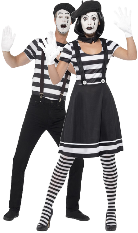 Couples French Mime Artist Fancy Dress Costumes in 2020
