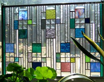 Hip to be Square beveled stained glass panel by GlitzAndGrandeur