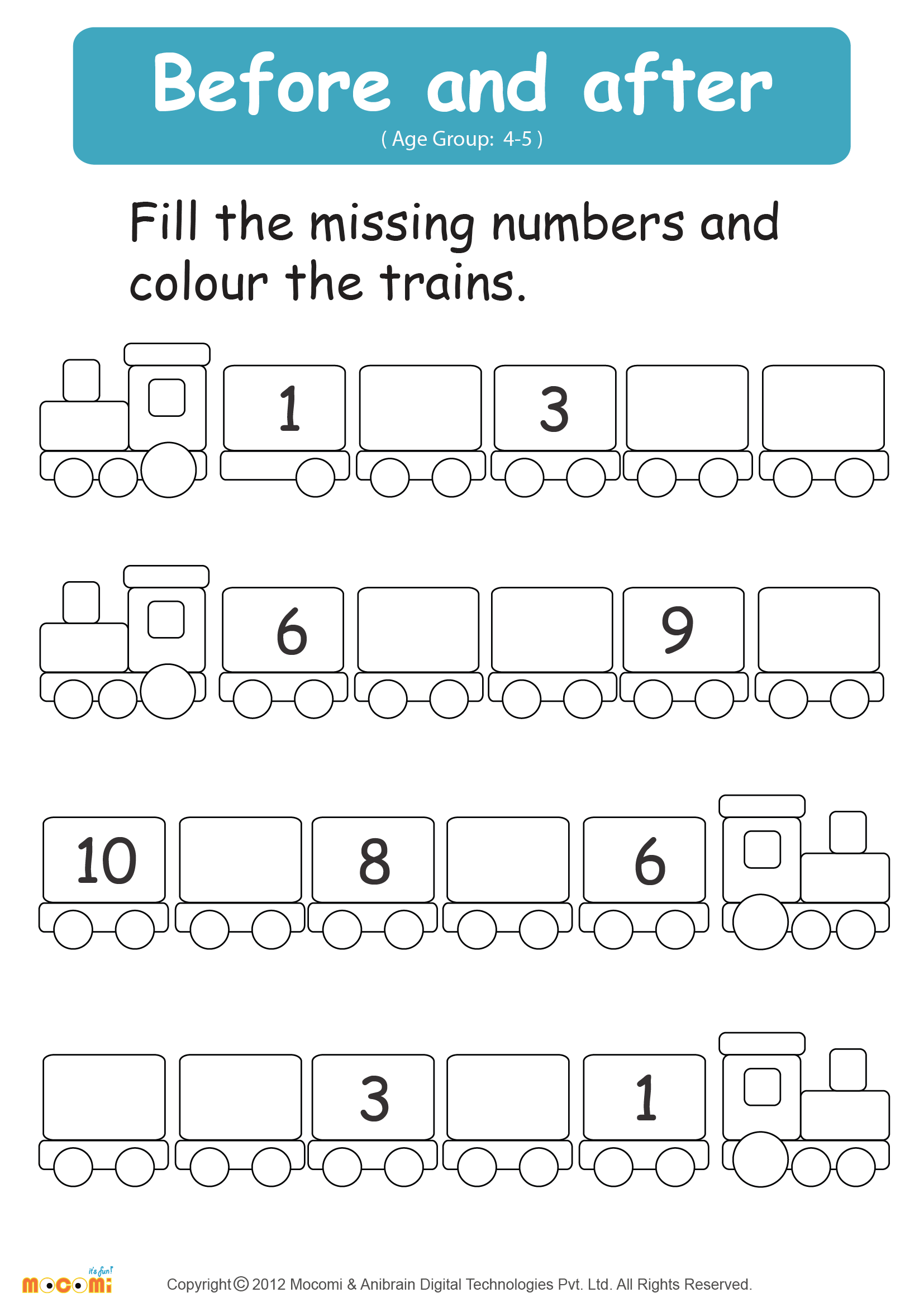 Before and After Numbers Worksheet - Math for Kids ...