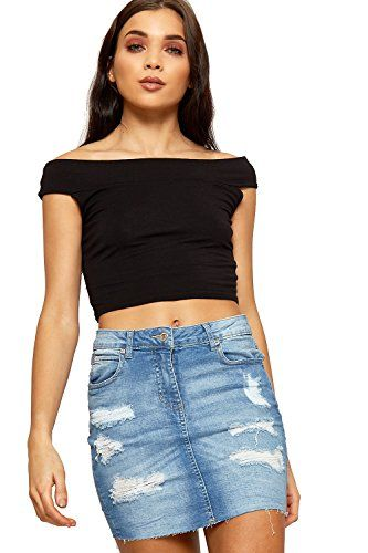 1b359c654a WEARALL Women's Distressed Denim Mini Skirt Ladies Frayed Ripped Pocket  Button New - Mid Blue - 12