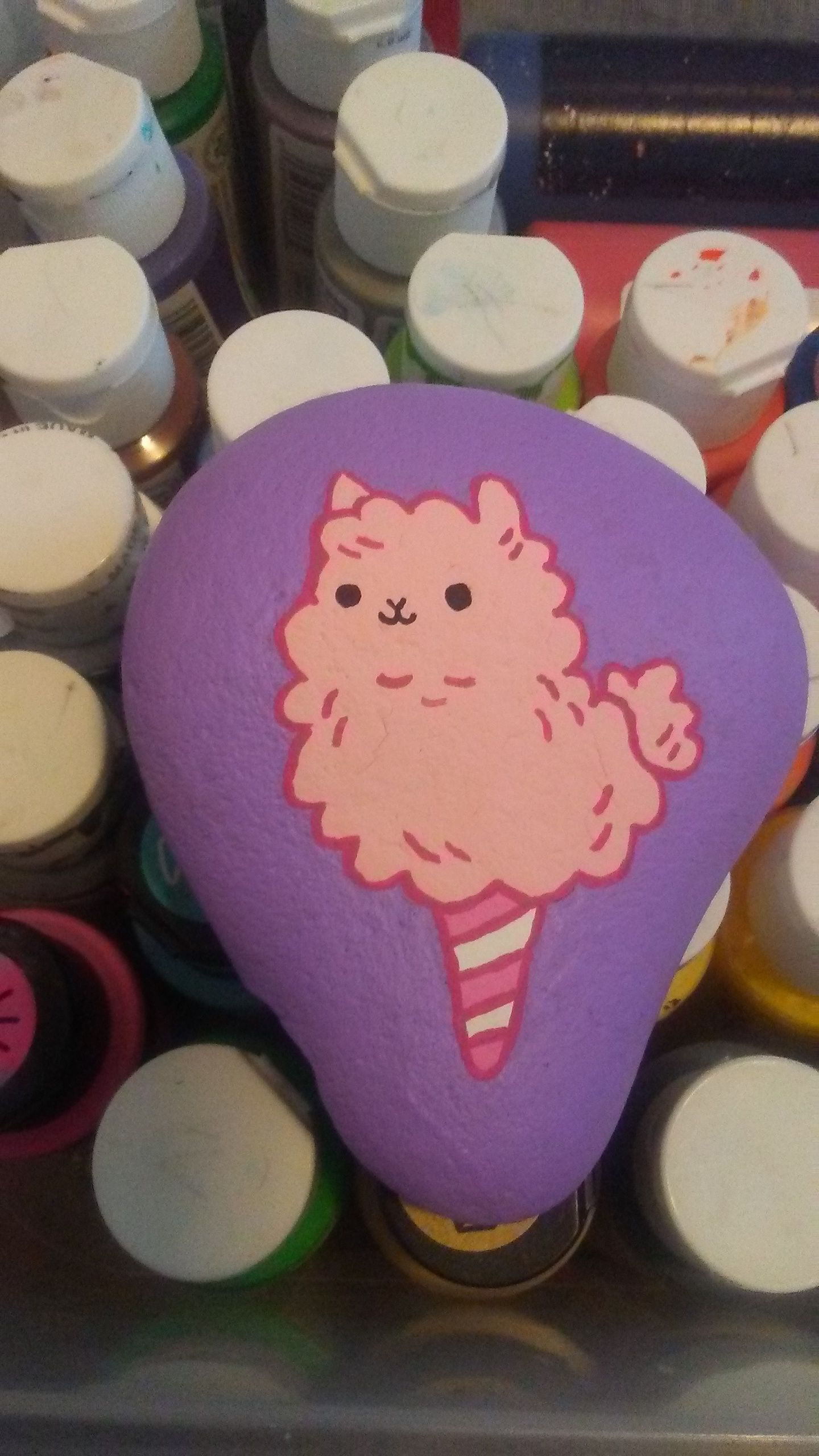 Pink Llama Cotton Candy Painted Rock 801 Rocks Rock Painting Patterns Painted Rocks Balloon Painting