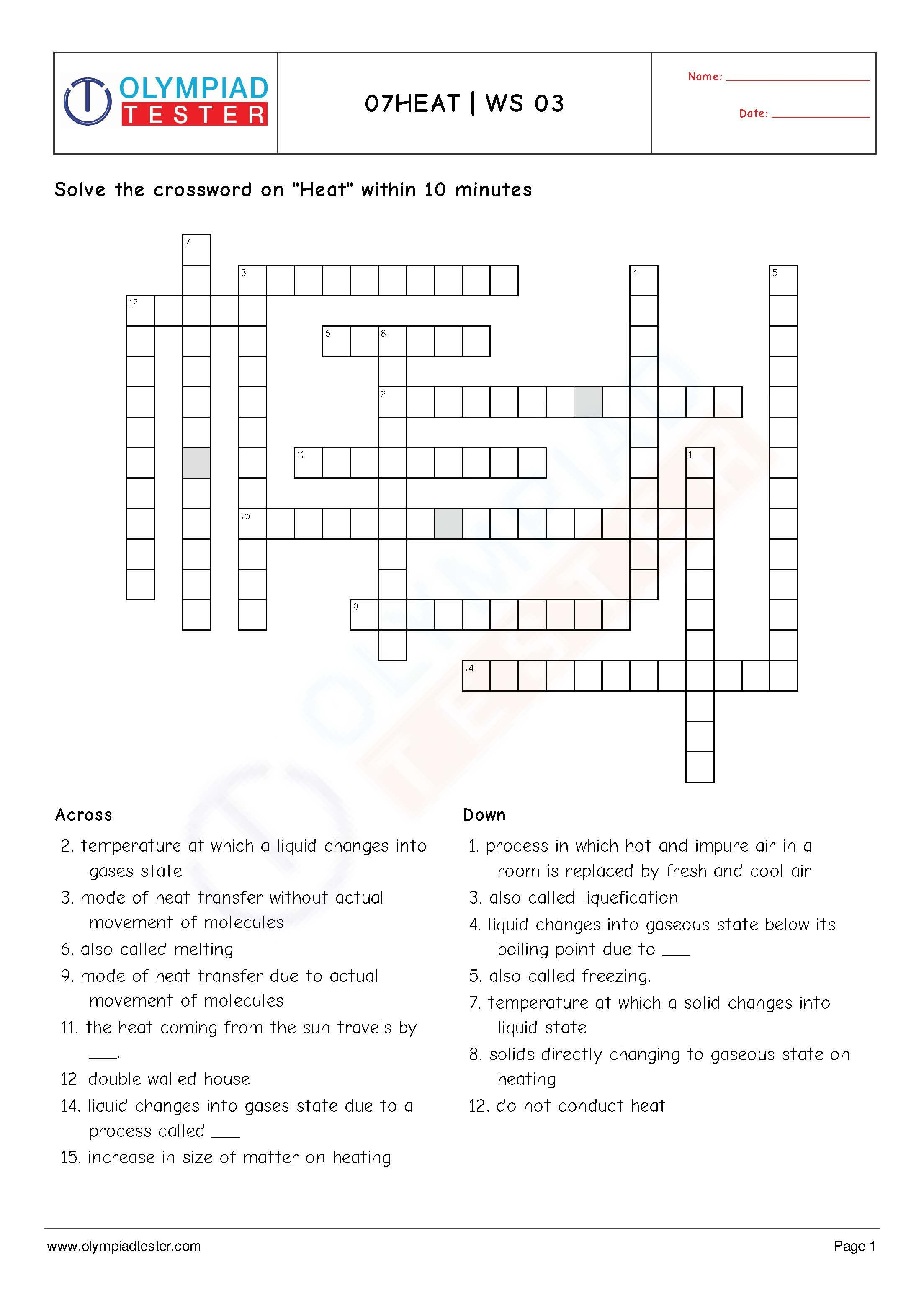 Class 6 Science Worksheets Crossword Puzzles Light Shadows