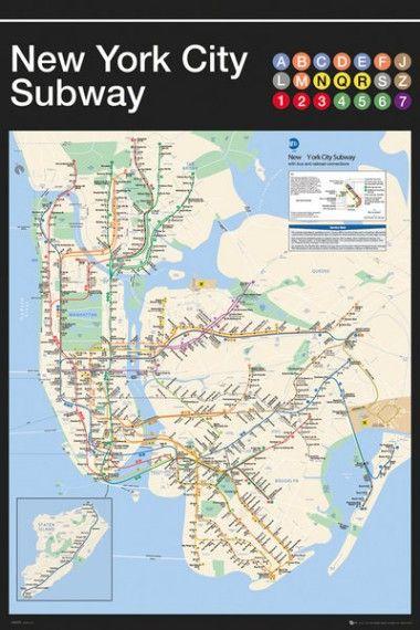 Nowy Jork Mapa Metra Plakat Galeria Plakatu New York Subway Nyc Subway Map Subway Map Art