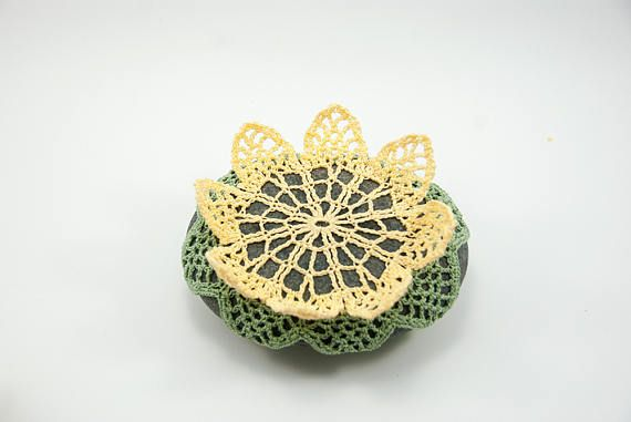 Crochet covered rock, lace stone, beach wedding, ring pillow, yellow ...