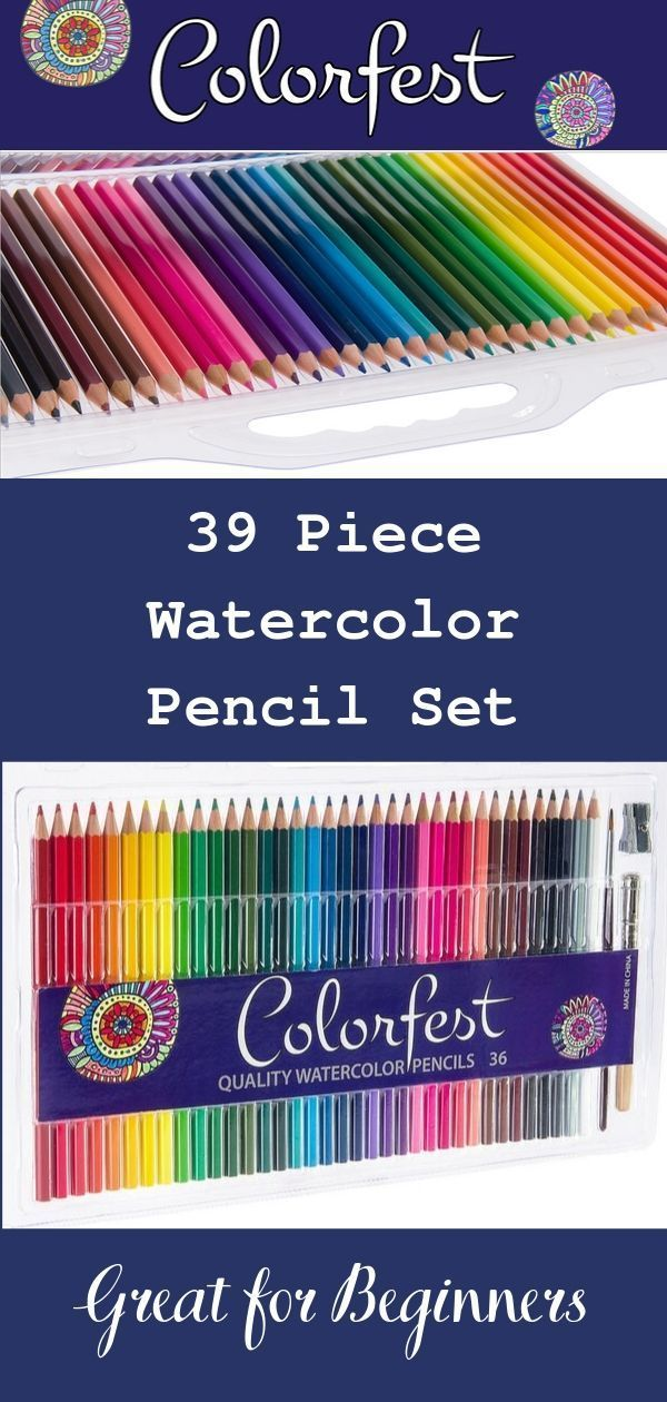 Watercolor Pencil Set With 36 Great Colors Sharpener Blending