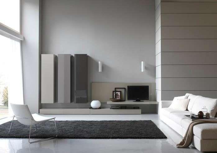 Abbinare il grigio alle pareti - Varie tonalità di grigio in soggiorno