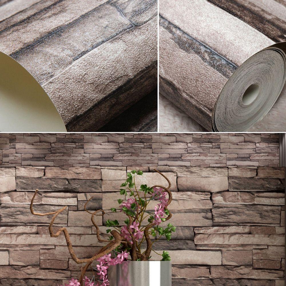 Vivid 3D Vintage Faux Stone Brick Wallpaper Removable