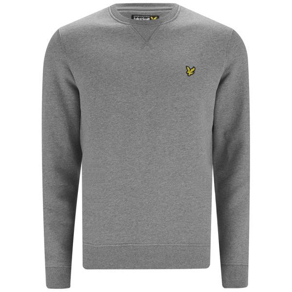 0a8b99fe993 Lyle   Scott Vintage Long Sleeve Crew Neck Cotton Sweatshirt  Mid Grey Marl