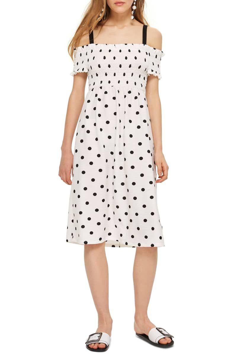 9578b696c57 Spot Shirred Strappy Midi Dress