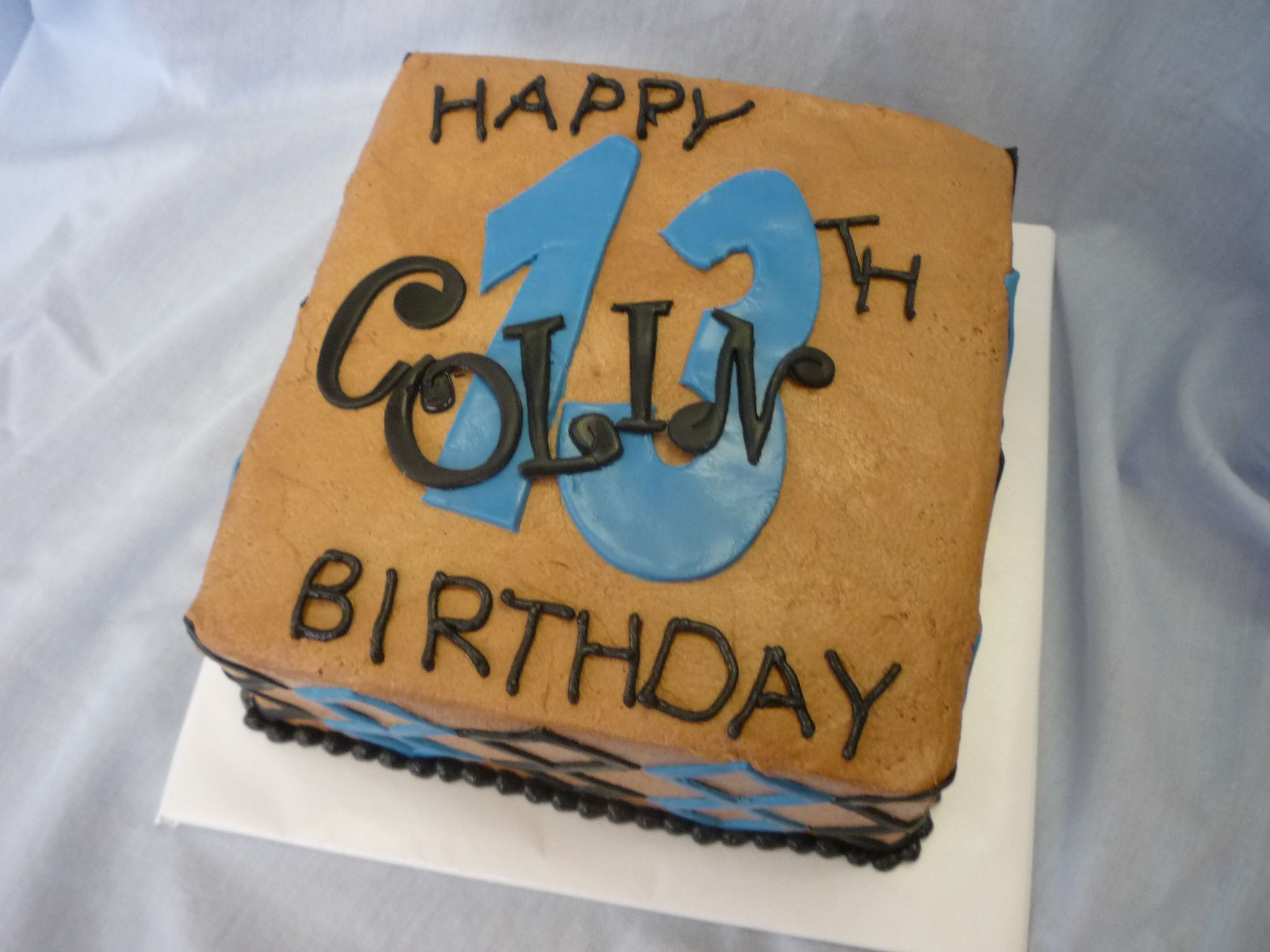 Blue Black Amp Brown Cake For A Teen Boy 6in Square