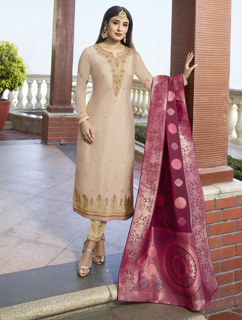 Ed Special Indian Pakistani Designer Stitched Salwar Kameez Suits Satin Georgette Embroidered Worked Wedding Outfits Trouser Salwar Suits