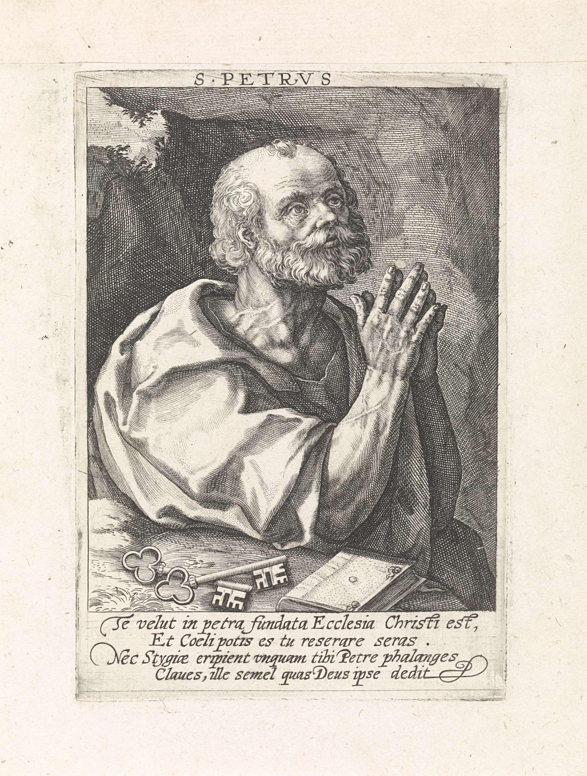 Crispijn van de Passe (I)   Apostel Petrus, Crispijn van de Passe (I), 1574 - 1637   De apostel Petrus in gebed. Voor hem zijn attribuut de sleutel. In de marge een vierregelig onderschrift in het Latijn. Pendant van een prent van de apostel Paulus.
