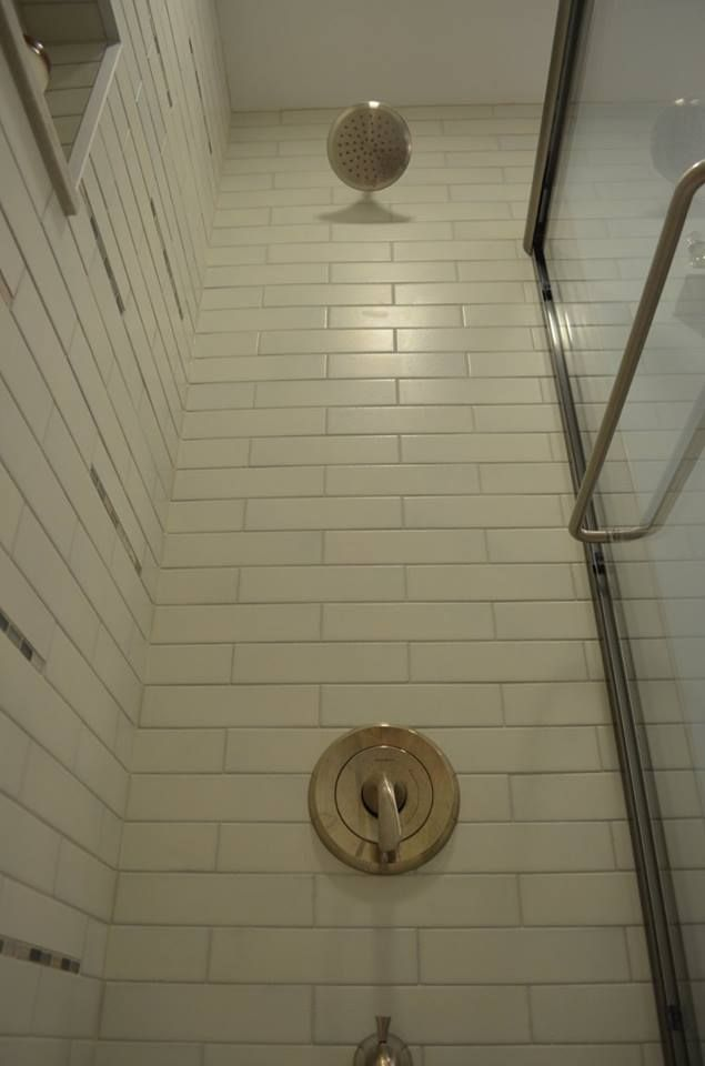 We Had The Shower Head Mounted Higher Than It Been Previously Also Took Tiles All Way To Ceiling Wanted Accentuate Height Of